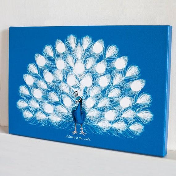 hnliche artikel wie leinwand drucken pfau baby dusche fingerabdruck gast buch 12 x 18 blau. Black Bedroom Furniture Sets. Home Design Ideas