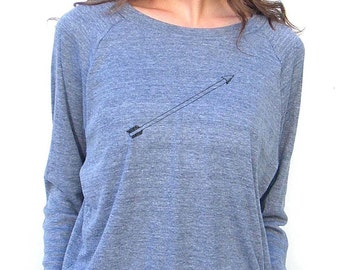 Womens Long Sleeve Sweatshirt - Arrow - American Apparel Raglan Pullover - Small, Medium, Large