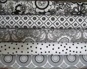 Grey Black White Parisian Half Yard Bundle Fabric - Riley Blake - Chelsea Anderson