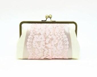Blush Lace Clutch   Wedding Clutch   Bridal Clutch   Bridesmaid Clutch [Macaron Clutch: Blush and Latte]
