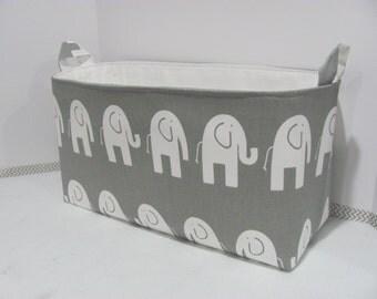 """XXL 18"""" x 8"""" x 10"""" Fabric Organizer Basket - Storage Container - Toy Bucket - Home Decor - Nursery - Gift Basket - Grey Elephants Canvas"""