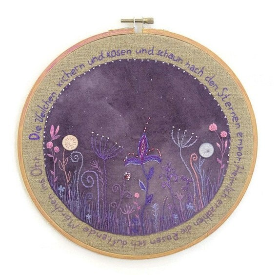 Hand embroidery hoop wall art the violets giggle and