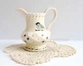 Chickadee Creamer Functional Fine Art on Ceramic Upcycled Vintage Handmade Pitcher Bird Art Original Design Housewares Gift for Her Under 60
