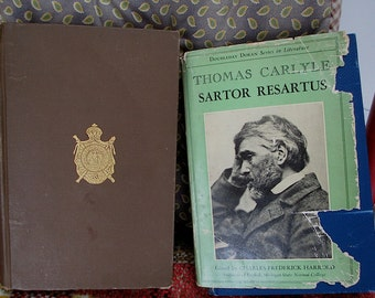 Sartor Resartus, a satire (1837)  and The French Revolution (1837)  Vol 1 only, by Thomas Carlyle. Literature. Clothes. European War.