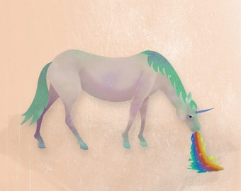 Illustration Art Print- Field Guide to Unicorns: Spewnicorn