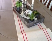 FrenchCanvas Grainsack Table Runner with Red Stripes Farmhouse/Coastal/Beach Bungalow