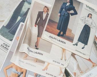 12 Vintage Designer Patterns Vogue Ralph Lauren Calvin Klein Nina Ricci Perry Ellis Bill Blass Simplicity Butterick Costume Designer Size 10