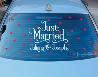 Just Married Decal for Wedding car - vinyl letters for wedding car - just married vinyl lettering names - wedding car decal - Bride & Groom
