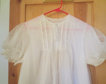 Vintage 60s Gotham lace chifffon cover up full flared Double Layer sheer Short sleeve Medium Elastic Sleeves