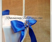 Elite Satin Flower Girl Basket with Two Hearts Accent..BOGO Half Off..You Choose The Colors..Shown in ivory/royal blue