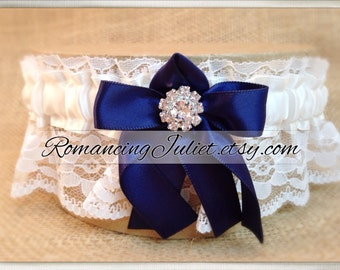 Lovely Vintage Style White Lace Garter with Vibrant Rhinestone Choose the Bow Color..shown in ivory/navy blue midnight