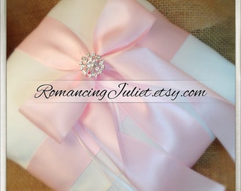 Romantic Satin Elite Ring Bearer Pillow...You Choose the Colors...Buy One Get One Half Off...shown in white/pale pink