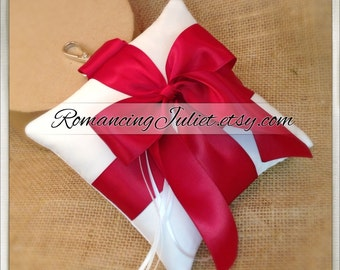 Pet Ring Bearer Pillow...Made in your custom wedding colors...shown in White/Scarlett Red