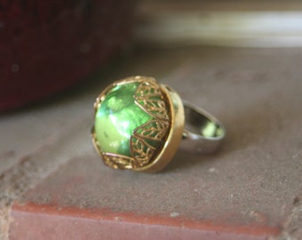 R34 Vintage Peridot Gold Filigree Glass Rhinestone Upcycled Cocktail Ring