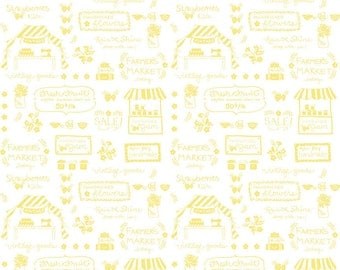 SUMMER SALE - 5 yards - Vintage Market - Text in Yellow - Sku C4563 - by Tasha Noel for Riley Blake Designs