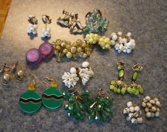 Destash Lot of 13 Pair of Vintage Earrings Wear, Recycle, Repurpose