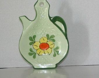 vintage tea pot spoon rest Japan vintage tea bag holder retro kitchen decor garden party cottage decor vintage kitchen tea supplies floral