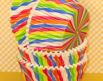 Rainbow Stripe Cupcake Liners  (32)