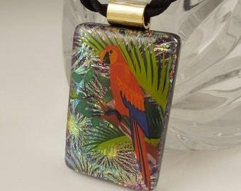 Parrot Necklace - Beach Glass - Bird Necklace - Dichroic Fused Glass Pendant - Bird Jewelry - Wildlife - Tropical Beach - Macaw 8102