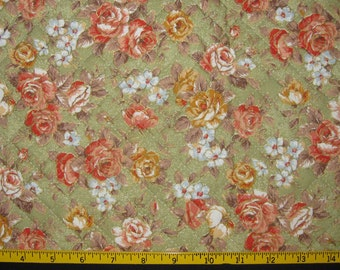Pre Quilted Fabric Half Meter Cut Roses Design Soft Green