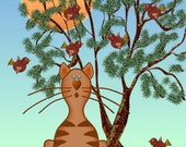 ACEO Orig  Digital Painting Cat and Birds