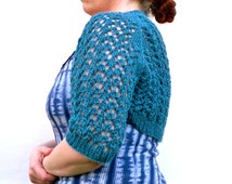 REDUCED 40% OFF Sale - Lace Shrug - Saxony Teal Alpaca Hand Knit Sweater - Women's Bolero - Frontless Cardigan - Knit Sleeves - Knitwear