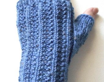 Cotton Fingerless Gloves for Women, Teen Girls, Texting Gloves, Spring gloves, cotton/acrylic blend, blue gloves, ribbed pattern, hand knit