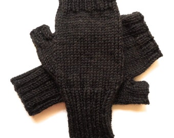 Texting Gloves for Men, Teen Boys, Fingerless Gloves, Handknit, dark brown heather gloves, hand warmers, men's mitts, knitted gloves, size S