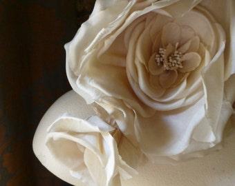 Silk Rose Mocha Cream for Bridal, Sashes, Millinery MF