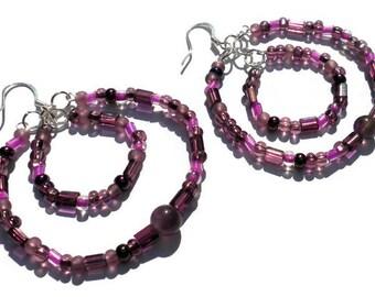 Amethyst Czech Bead Hoop Earrings, Purple Earrings, Silver Hoops, Crown Chakra, February Birthstone, Nickel Free, Heather, Gift Idea