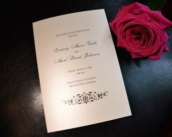 "Elegant Flourish Bi-fold 5x7"", Folded Wedding Programs"