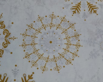 One Yard of Silver and Gold Snowflakes Christmas Fabric