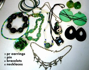Lot of 16 Pieces Wearable Jewelry, Green n Black, 6 Necklaces, 3 Earrings, 6 Bangle Bracelets, 1 Pin,  Great Condition, 1960s-70s,