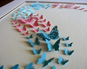 SALE on 11x14 Pink, Teal, Aqua Shades 3D Butterfly Art. Paper Butterfly Art, Wall Art, Nursery Decor or Choose YOUR OWN Colours