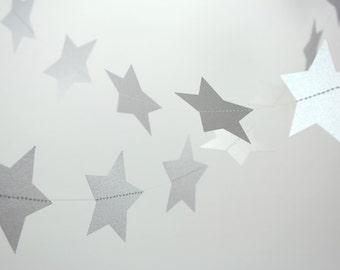 Shimmer Metallic Silver Stars Paper Garland - 10 ft strand