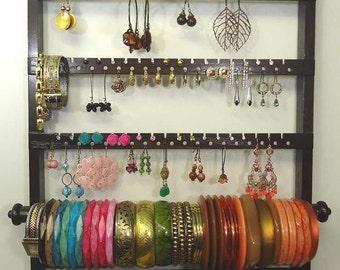 Jewelry Organizer Bracelet Holder Earring Rack Necklace Display, Solid Oak Hardwood Wall Mount