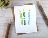 Birthday Candle Greeting Card in Green and Blue - Make a Wish
