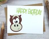Childrens Brown Horse Happy Birthday Greeting Card - Farm Animal Card - Single