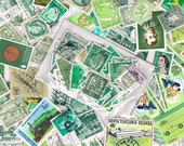 25 x shades of green used postage stamps, vintage + more recent, world stamps for crafting, collage, upcycling or collecting - all off paper