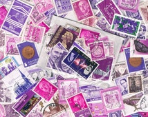 25 x magenta & purple used postage stamps, vintage + more recent, world stamps for crafting, collage, upcycling or collecting, all off paper