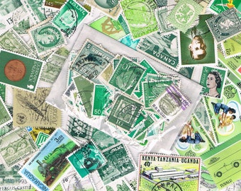 Green used postage stamps - vintage + more recent world stamps - ephemera for crafting, collage, upcycling or collecting - all off paper