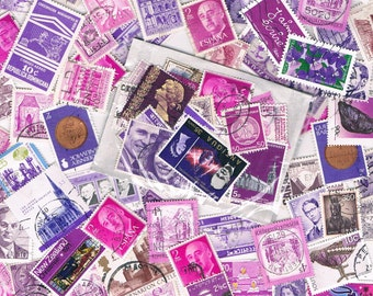 Magenta & purple used postage stamp packet, vintage + more recent - world stamps for crafting, collage, upcycling, collecting, all off paper