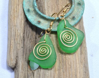Triangular gleaming green genuine Maine sea / beach glass earrings with hand forged bronze spirals  eco friendly fashion jewelry from Maine
