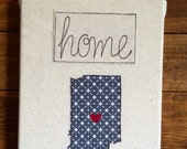 """Gray Custom State Wall Art - Home State Love Inspirations Wall Art - fabric wrapped canvas 8""""x10"""" - free motion embroidery"""