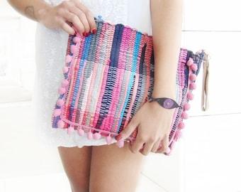 Pom Pom Boho Purse. Boho Chic Kilim Bag. Colorful Womens Gift. Kourelou Boho Bag. Bohemian Clutch. Gift for Her. Festival Wear. Hippιe Bag