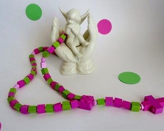 Catholic Rosary - Catholic Rosary made of Pink Lego Bricks - Pink and Green Rosary