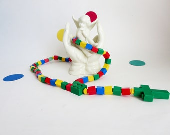 Children's Rosary - Rosary made of  Lego Bricks  - Primary Colors Kids Rosary - Blue, Red ,Green and Yellow