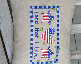 "Pillow, Patriotic, ""Land that I love"",  stars and stripes, Country, Prim, Primitive"
