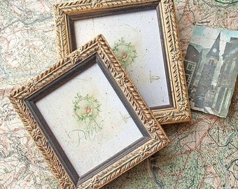 Two Classic Gold Photo Frames Mini Sizes for Wedding Bridesmaids Golden Anniversary