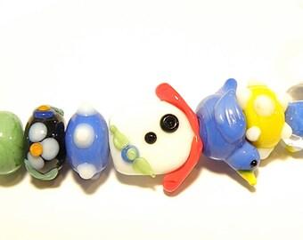 DESTASH -- Seven Coordinating Lampwork Beads: Primary Colors Bluebird and Birdhouse Set - Lot UU